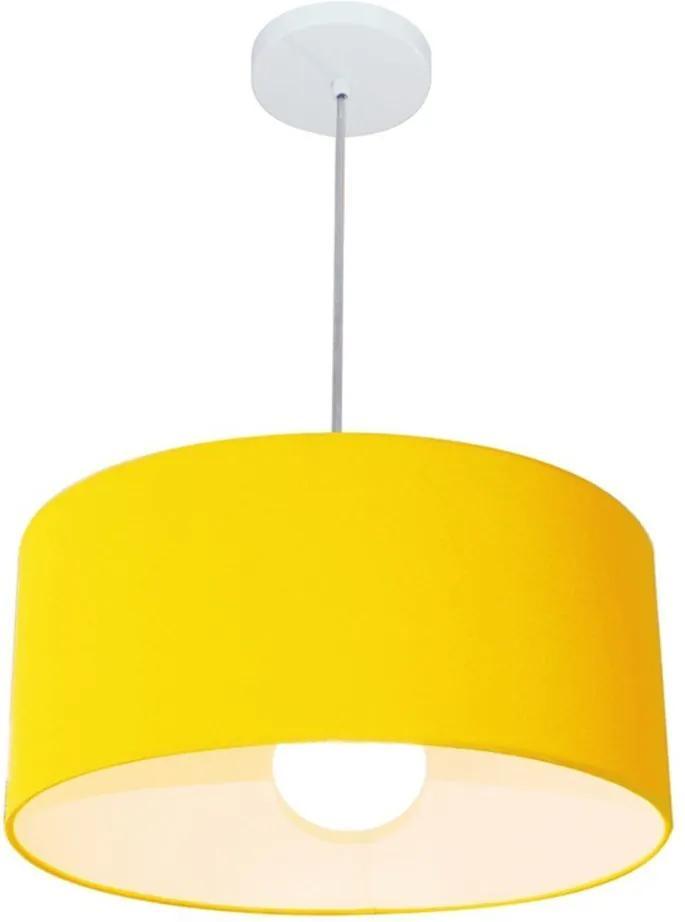 Lustre Pendente Cilíndrico 4052 Cúpula em Tecido 50x21cm Amarelo - Bivolt