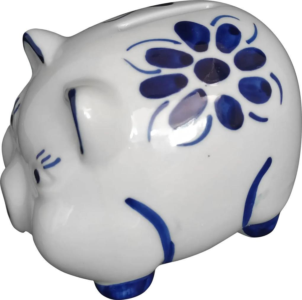 Cofre Porta Moedas em Porcelana Azul Colonial