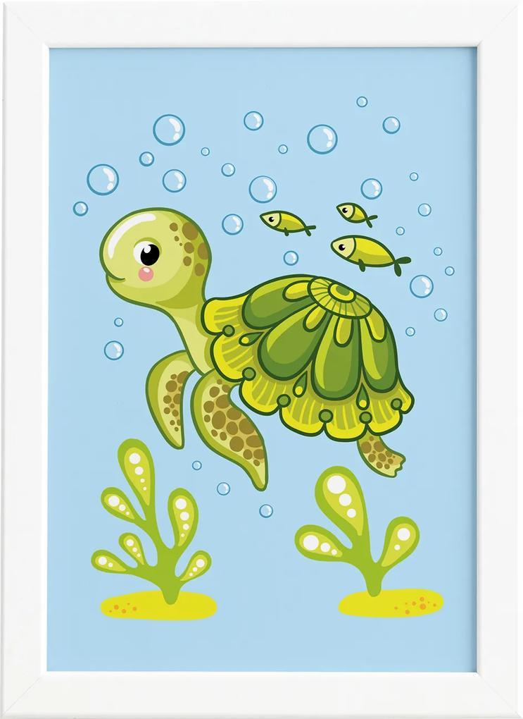 Quadro Infantil Tartaruga Fundo do Mar Moldura Branca 22x32