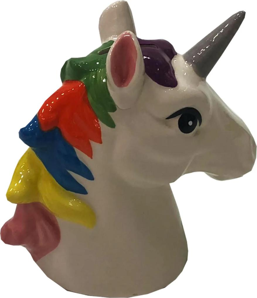 Cofre Ceramica Busto Unicornio Colorida Decor. Infantil