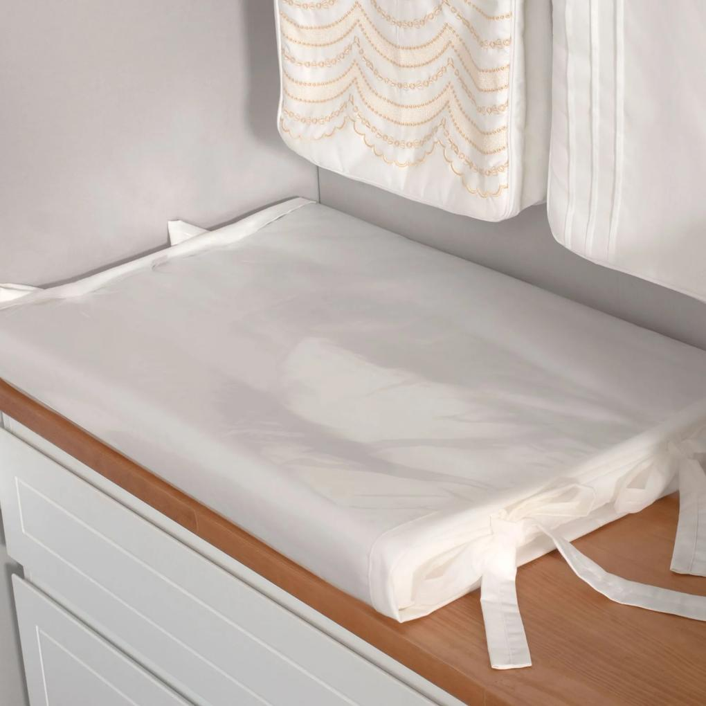Trocador de Fraldas Anatômico para Bebê Plastificado Marfim Coleção Ashley