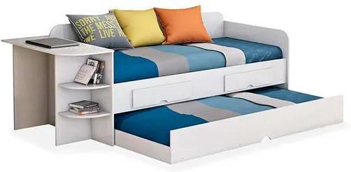 Cama Arpa com cama auxiliar, 2 gavetas, escrivaninha e 2 prateleiras - Reversível, Padrao - Branco