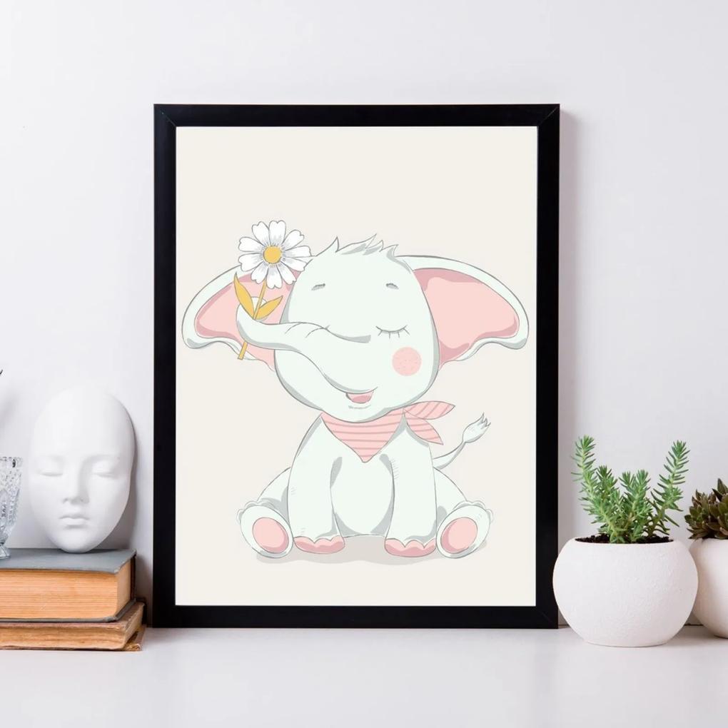 Quadro Decorativo Infantil Elevante Baby Preto - 20x25cm