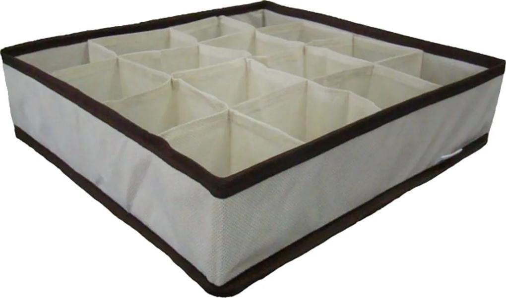 Organizador de Gavetas OrganiBox 36X36 c/ 16 divisões - Marrom