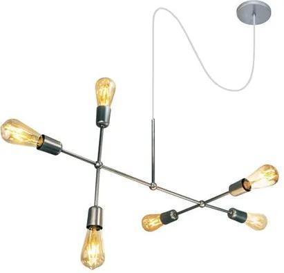 Luminária Sputnik Gun Industrial 6 hastes com Fio Ajustável e Desviador Soq: E27   Cor: Prata   Tam: 60cm   Mod: Sputnik Gun