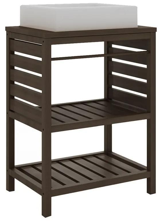 Balcão para Banheiro Aquiles com Prateleira Nogueira (Cuba não acompanha o produto) - Wood Prime MR 34630