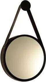 Espelho Decorativo Preto Cinta De Couro Marrom Ø60cm