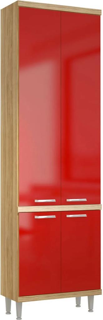 Paneleiro 4 Portas 700mm Sicília Argila-Texturizada e Vermelho-Scarlet Multimóveis