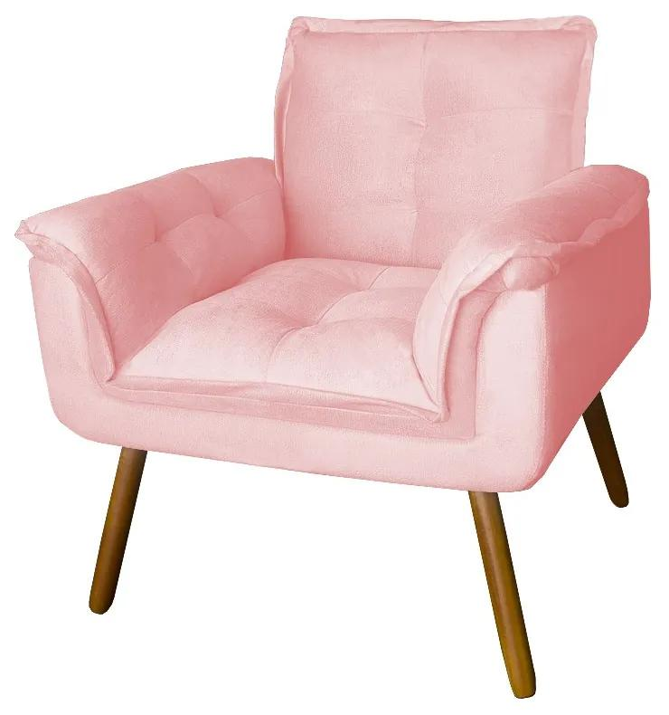 Poltrona Opala Decorativa Bella Pé Palito Suede Rosê