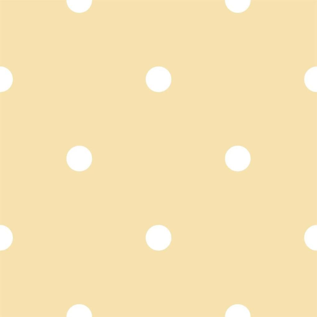 Papel de Parede Coleção Bim Bum Bam Amarelo Branco Poá 2216 Cristiana Masy