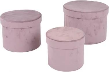 Conjunto de Caixas de Veludo Rosê 3 peças