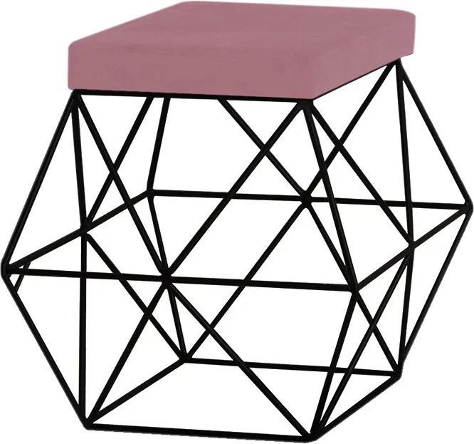 Puff Decorativo Sala de Estar Base Preto Trixie Veludo Rosê - Gran Belo