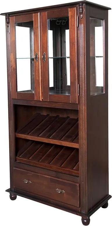 Adega Alta Espelhada com 1 Gaveta e Prateleiras de Vidro - Wood Prime NL 11630