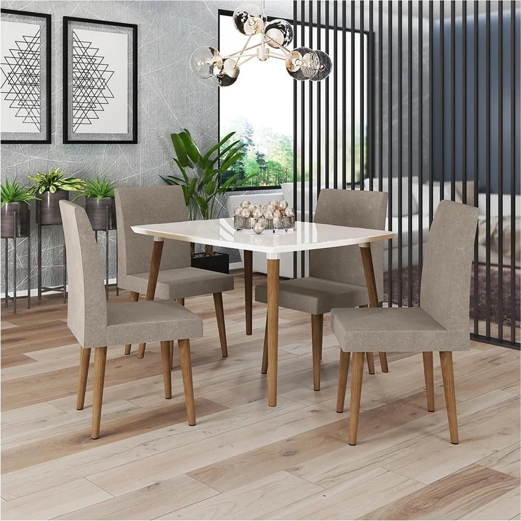 Mesa De Jantar Ágata White com 4 Cadeiras Jade Pena Caramelo – RV Móveis