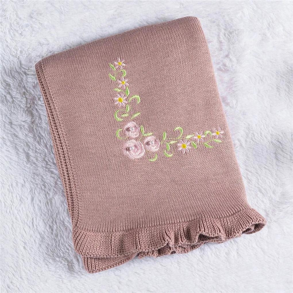 Manta Bebê Rosé Bordado Floral Tricot 80cm Grão de Gente Rosa