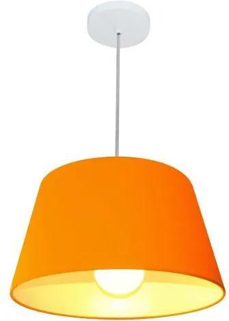 Lustre Pendente Cone Md-4039 Cúpula em Tecido 21/40x30cm Laranja - Bivolt