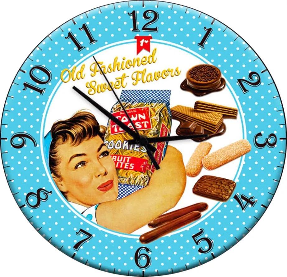 Relógio de Parede Retrô Azul em Madeira MDF - 28 cm