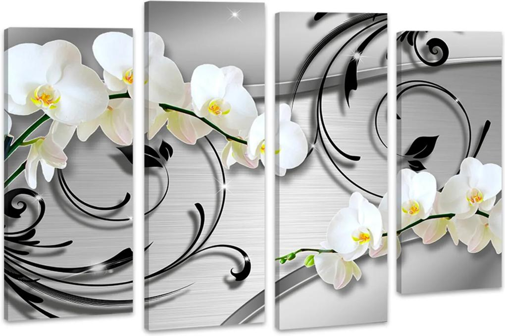 Quadro Oppen House  70x100cm   Orquídea Silver Luxury Flores Brancas