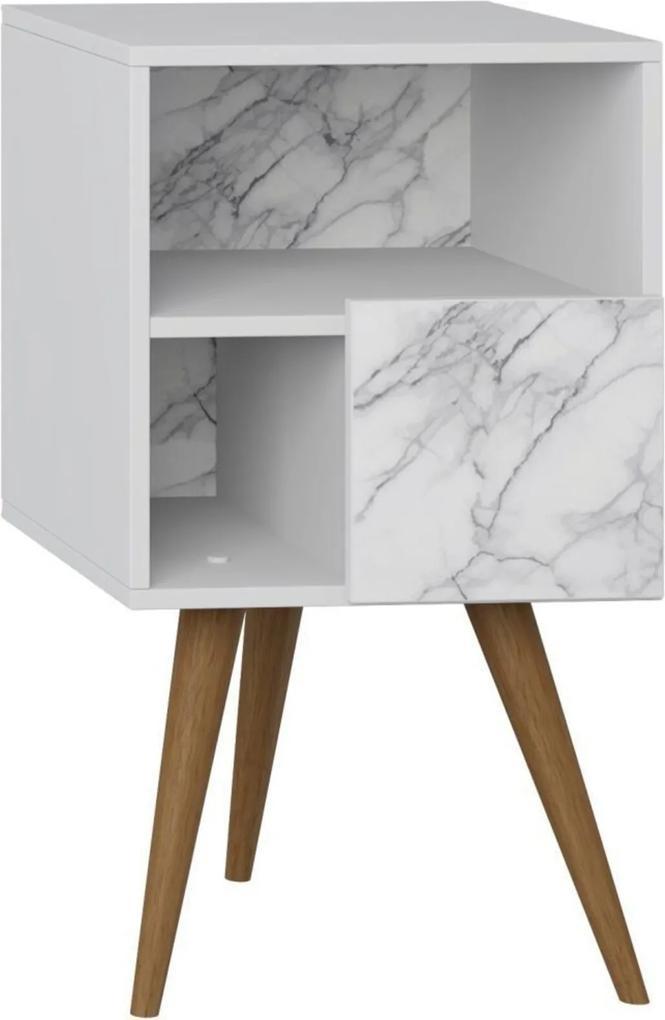 Mesa de Cabeceira com Porta Lyam Decor Retrô Branco Carrara