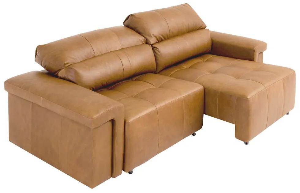 Sofá Retrátil e Reclinável 4 Lugares Maitê 256 cm Couro Camel - Gran Belo