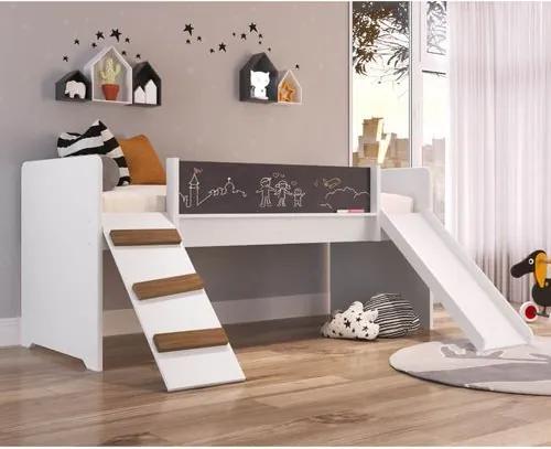 Cama Playground com Rampa e Escorregador - Branco