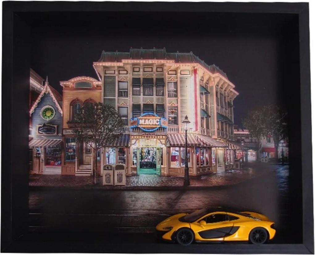 Quadro Decorativo 3D Carro de Corrida Fundo DisneylandCity