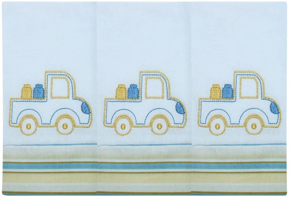 Toalha de Boca Transporte Caminhão Azul 3 Peças