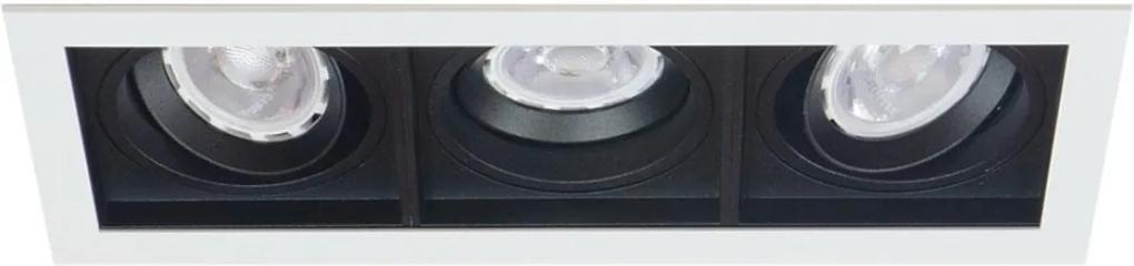 Plafon Embutir Triplo Aluminio Branco Preto Par20 E27 Quadra