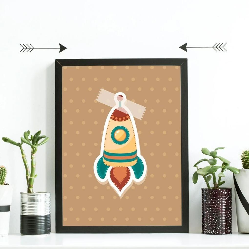 Quadro Decorativo Infantil Colagem Foguete Preto - 20x30cm