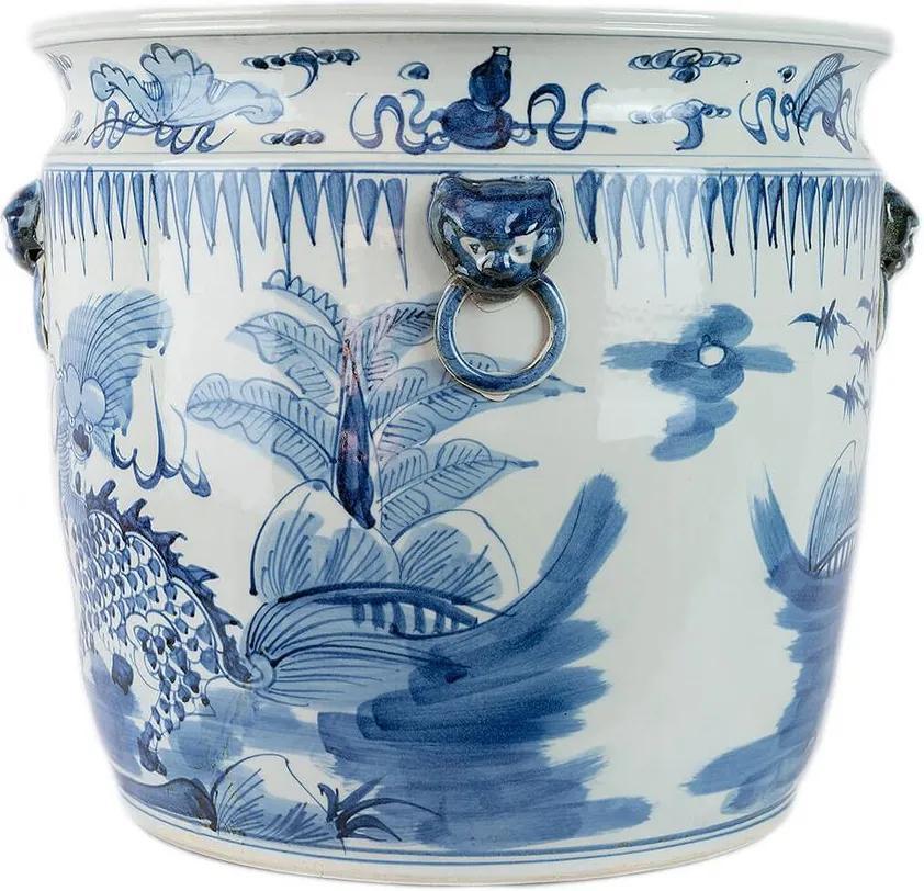 Cachepot Chinoiserie Porcelana Azul e Branco D47cm x A44 cm