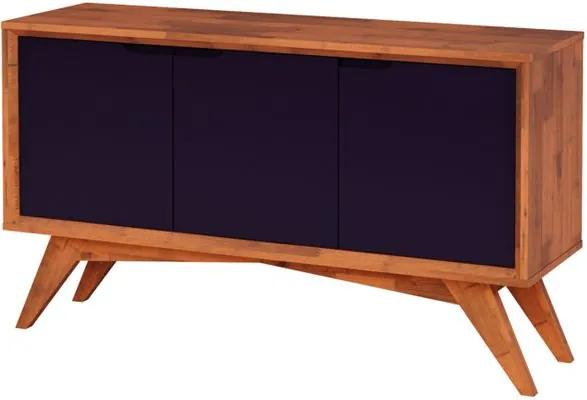 Buffet Serafim 3 Portas Natural e Roxo - Wood Prime MP 27622