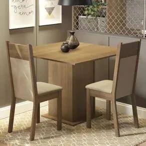 Conjunto Sala de Jantar Madesa Drica Mesa Tampo de Madeira com 2 Cadeiras Rustic/Crema/Pérola Cor:Rustic/Crema/Pérola