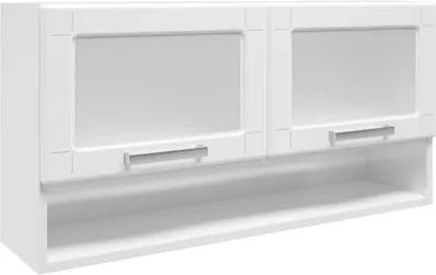 Armário Aéreo Múltipla Aço Vidro 2 Portas Basculantes e Nicho Branco - Bertolini