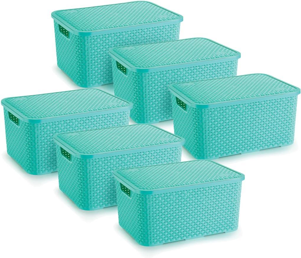 6 Caixas Organizadoras Rattan Grande Cor Verde 28x38,5x19 cm