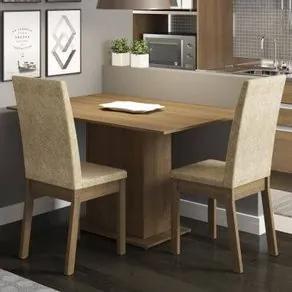 Conjunto Sala de Jantar Madesa Dai Mesa Tampo de Madeira com 2 Cadeiras Rustic/Imperial Cor:Rustic/Imperial