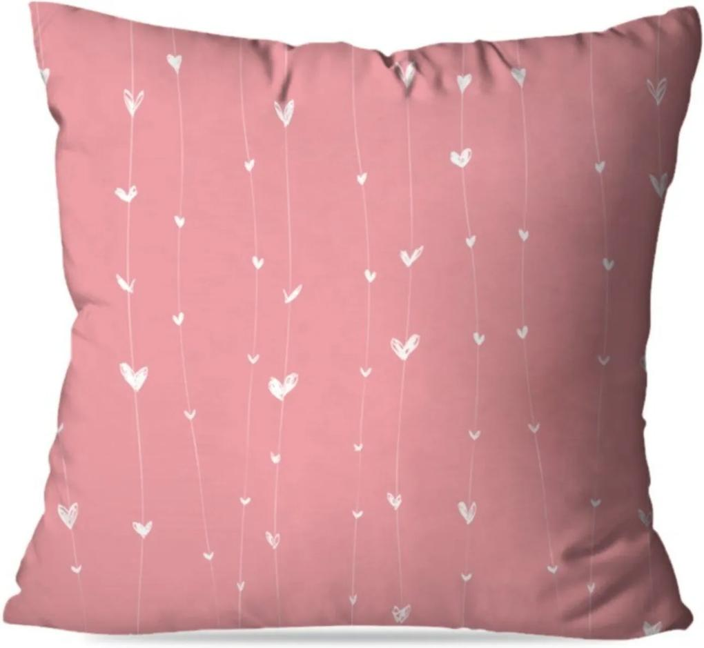 Almofada Avulsa Decorativa Coração Rosa 35x35cm