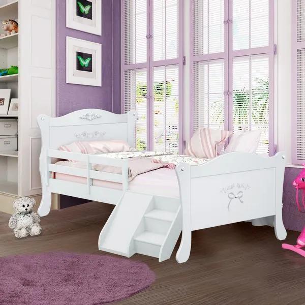 Cama Infantil Provence com Grade, Escadinha e Escorregador - Pura Magia