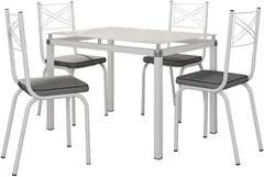 Jogo de Mesa Malva 107cm e 4 Cadeiras 119 Branco/Platina - Artefamol