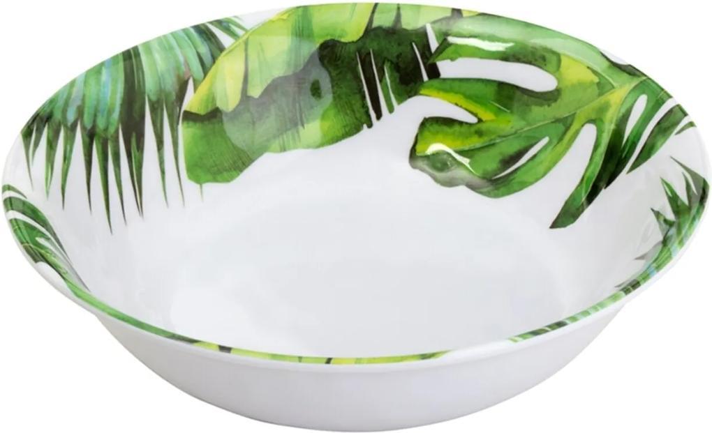 Saladeira Bon Gourmet melamina Leaves 35x7cm Branca