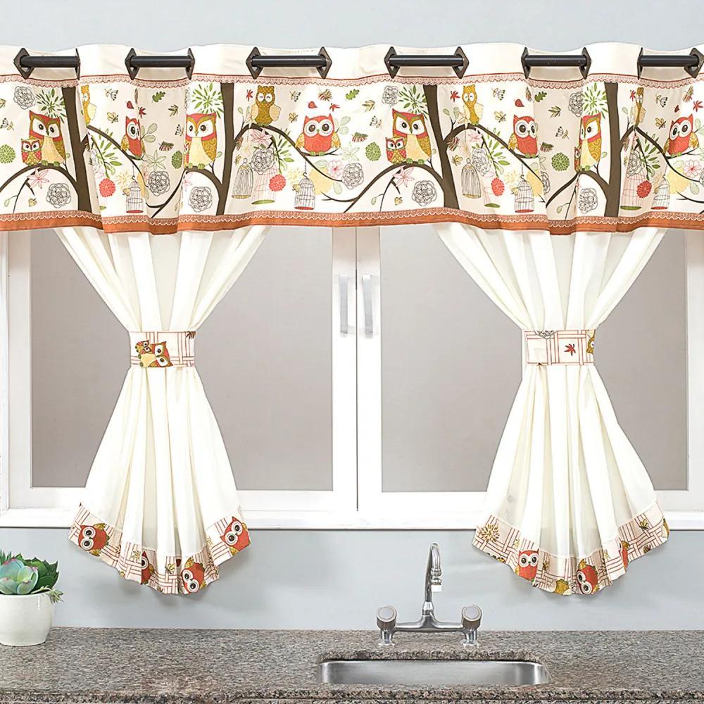 Cortina de Cozinha Home 2,00m x 1,40m para Varão Simples - Coruja