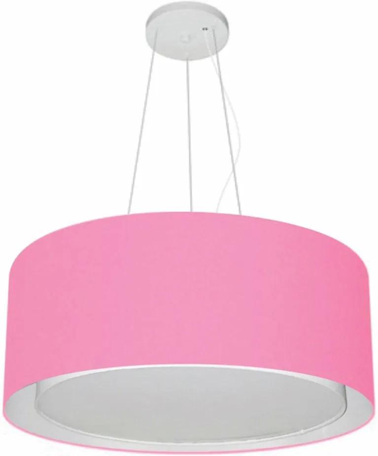 Lustre Pendente Cilíndrico Duplo Md-4124 Cúpula em Tecido 50x25cm Rosa Bebê - Bivolt