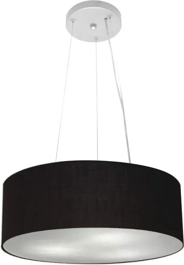 Lustre Pendente Cilíndrico Md-4181 Cúpula em Tecido 40x15cm Preto - Bivolt