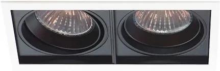 Plafon Embutir Duplo Alumínio Preto Branco Par30 E27 Quadra