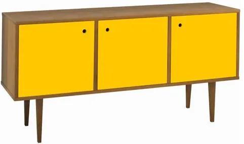 Buffet 3 Portas Vintage Laqueado Fosco Amarelo e Estrutura Madeira Maciça