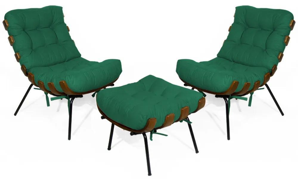 Kit 2 Poltronas Decorativa Costela Com Puff Costela Suede Verde