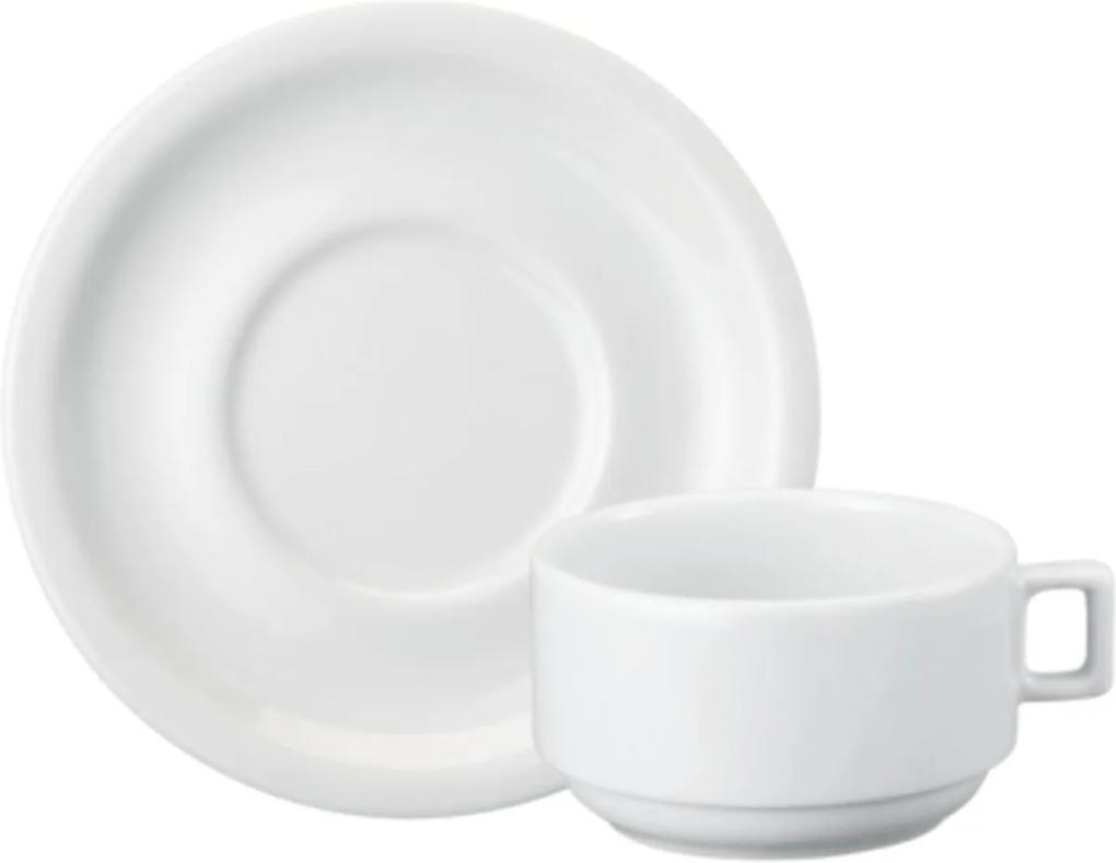 Xicara Café com Leite com Pires 270 ml Porcelana Schmidt - Mod. Protel
