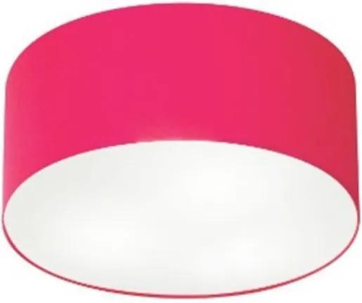 Kit/3 Plafon Cilíndrico Md-3010 Cúpula em Tecido 30x12cm Rosa Pink - Bivolt