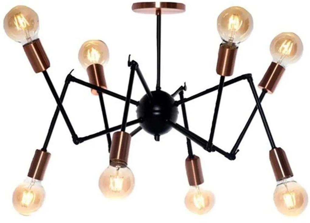 Pendente Articulado Spider Preto com Cobre 65cm