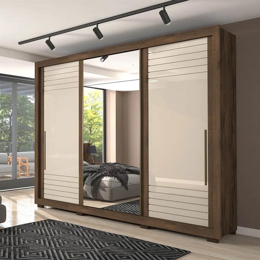Guarda-roupa Giava (L: 270cm) 100% Mdf C/ 1 Porta Espelhada Café / Off