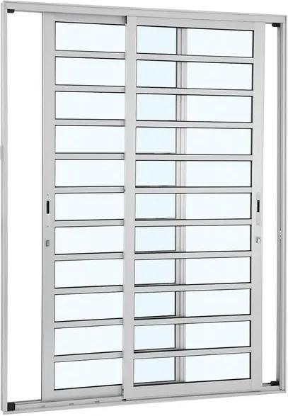 Porta de Alumínio de Correr Alumifort Branca com Divisão 2 Folhas Móveis 216x160x9,2 - Sasazaki - Sasazaki